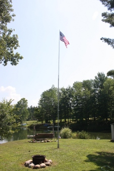 Simple Vertical antenna installed with flag